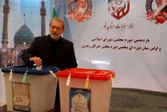 لاریجانی در قم رأی خود را در صندوق انداخت.